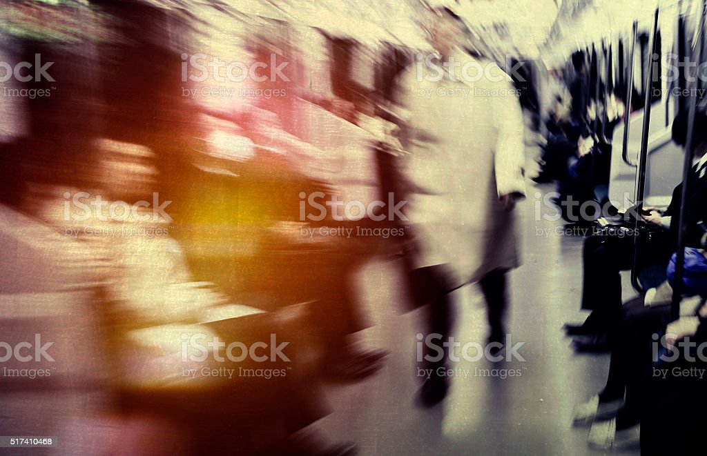 Japanese Commuters in Tokyo Abstract blurred Motion Concept stock photo