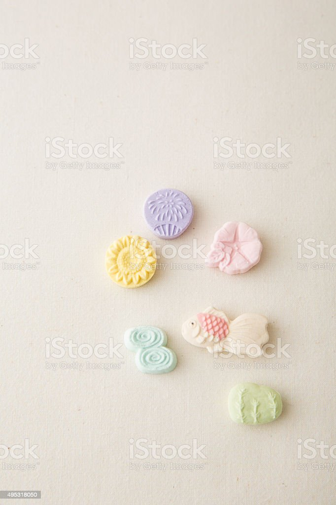 japanese confectionary on the white cloth stock photo