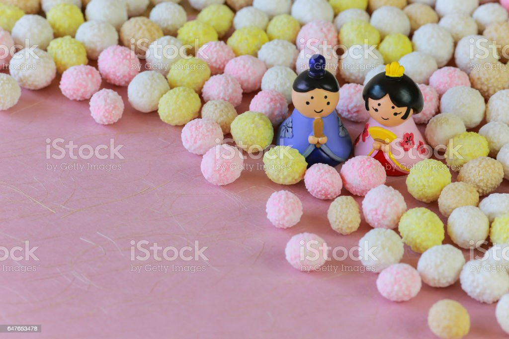 Japanese confectionery for Dolls' Festival. stock photo