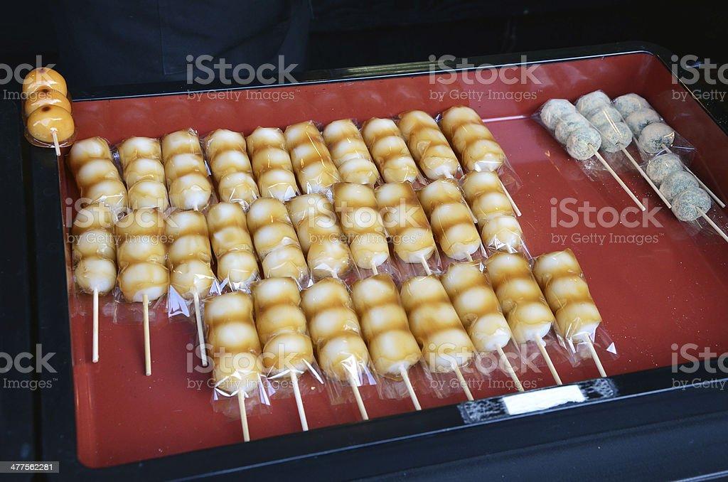 Japanese confectionery, Mitarashi Dango stock photo