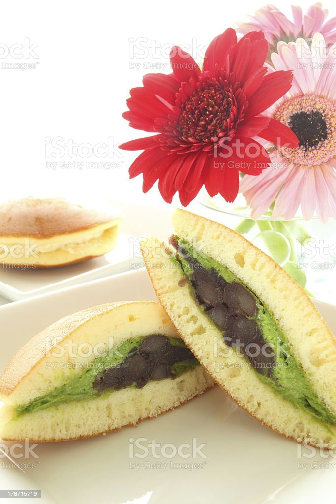 Japanese confectionery, red bean and green tea cream Pan cake royalty-free stock photo