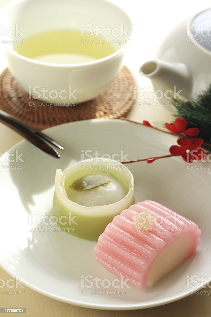 japanese confectionery, Wagashi on dish with green tea royalty-free stock photo