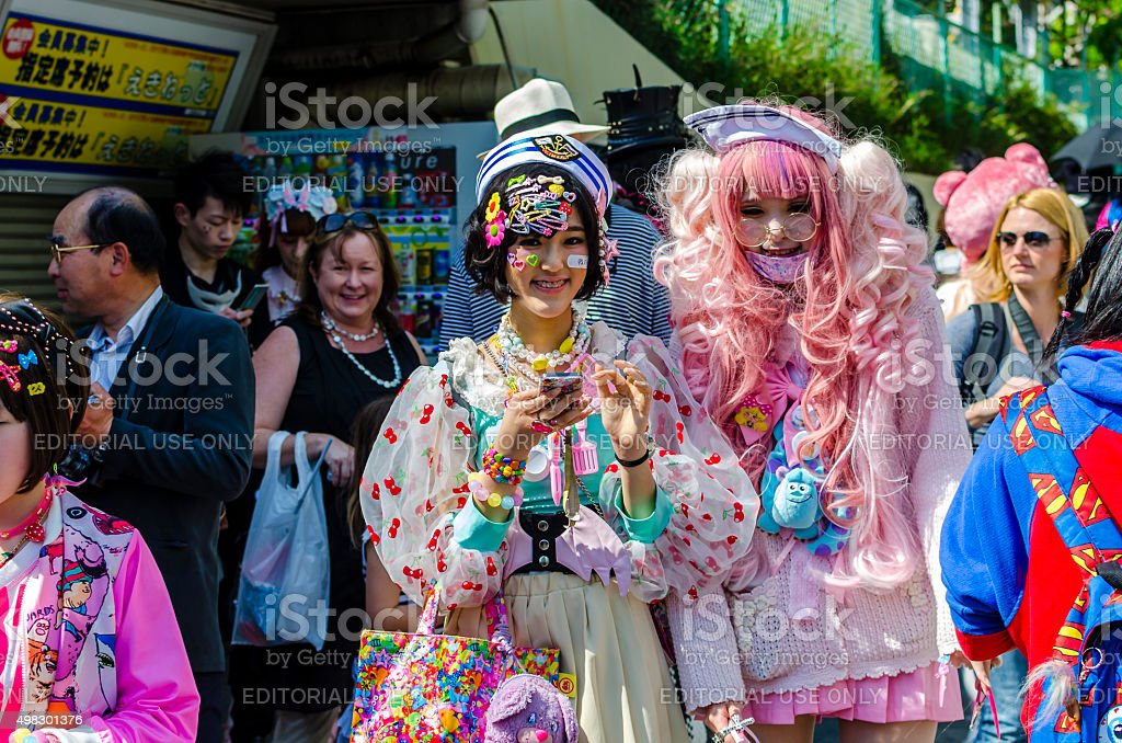 Japanese costume players at Harajuku, Tokyo royalty-free stock photo