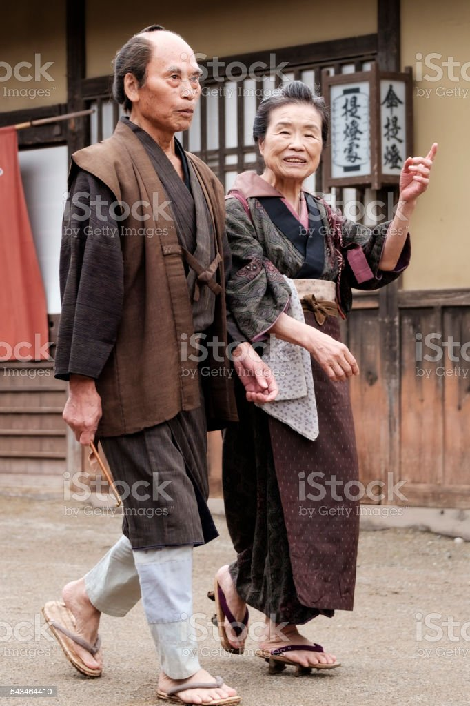 Japanese couple in Edo Period Town stock photo
