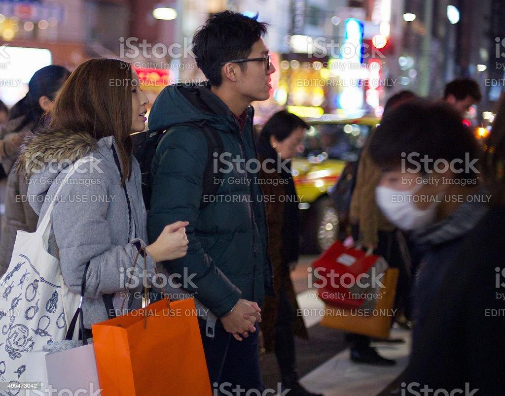 분재 커플입니다 장보기를 도쿄 royalty-free 스톡 사진