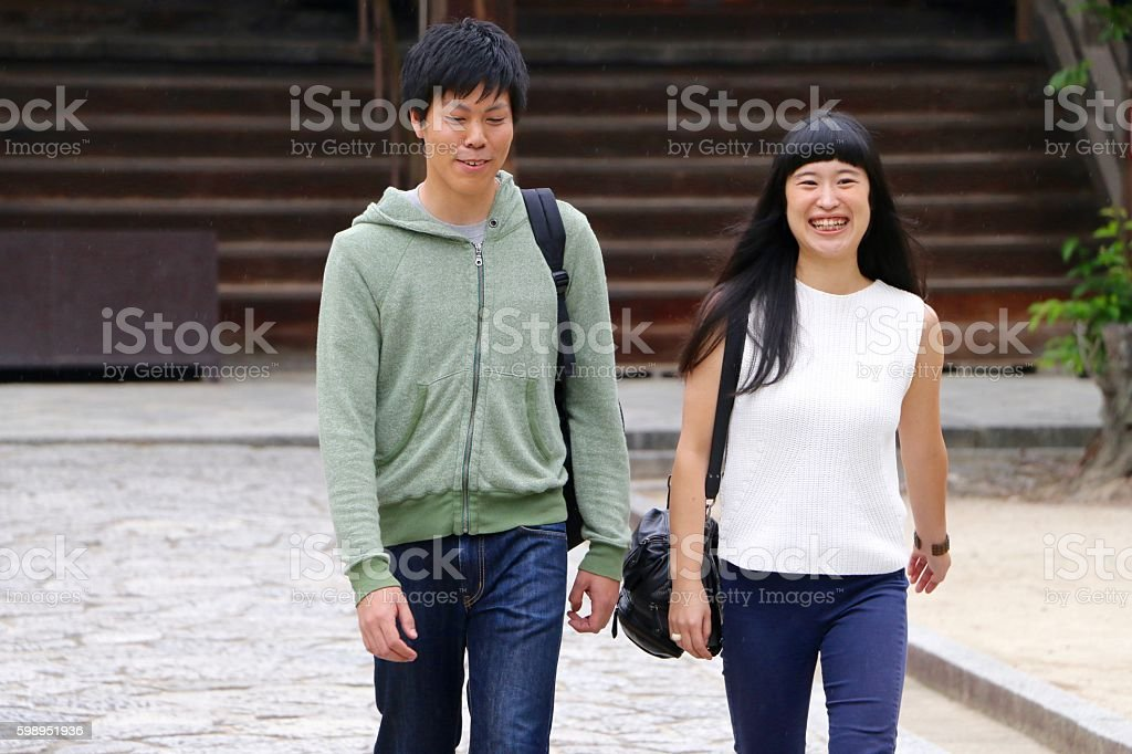 Japanese couple viting Kyoto temple stock photo