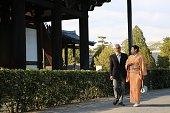 Japanese couple walking at Sanmon area of Tofuku temple