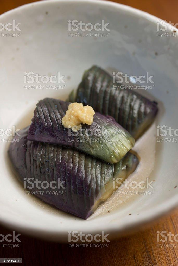 Japanese Cuisine Baked Eggplant with Broth (Nasu no Nibitashi) stock photo