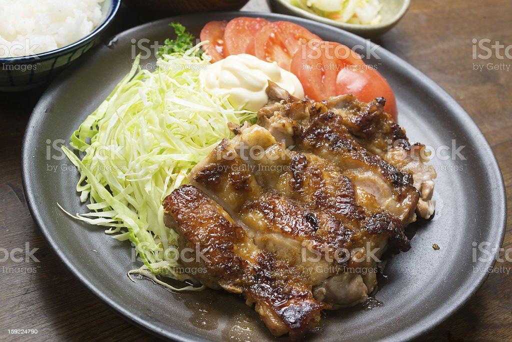 Japanese Cuisine Chicken teriyaki (鶏のしょうが焼き) royalty-free stock photo