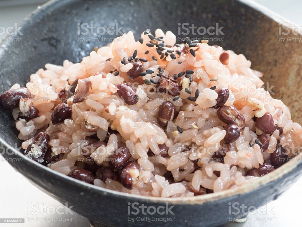 Japanese cuisine, cooked red bean sticky rice stock photo