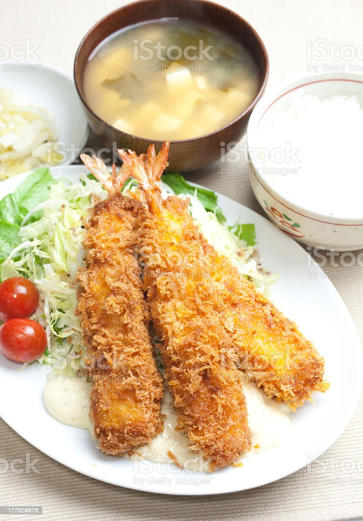 Japanese Cuisine Ebi furai (Fried prawn) stock photo