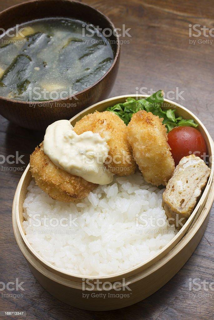 Japanese Cuisine Hotate furai Bento (ホタテフライ弁当,Fried Scallop) royalty-free stock photo