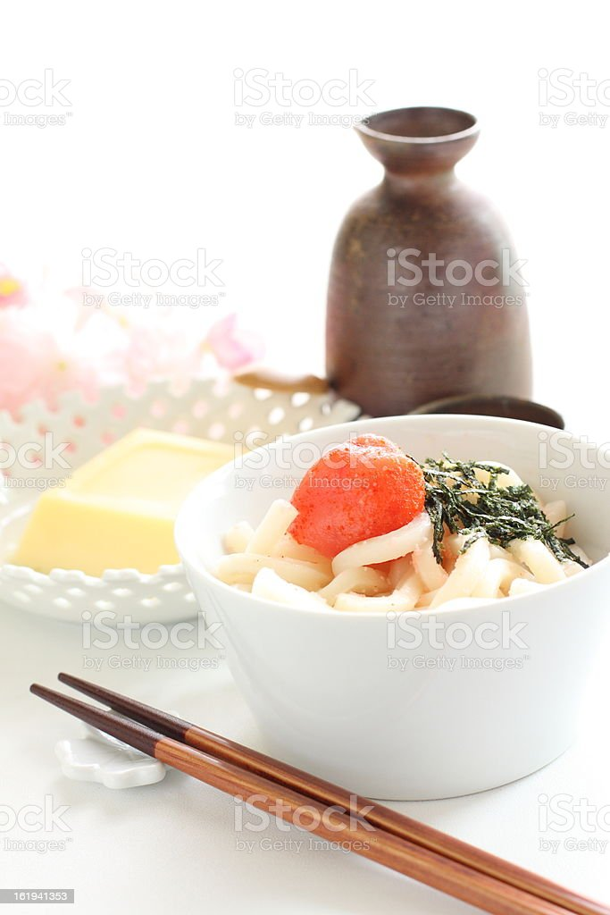 Japanese cuisine, Mentaiko on Udon stock photo