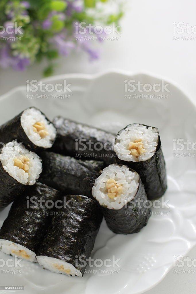 japanese cuisine, Nattomaki Sushi royalty-free stock photo