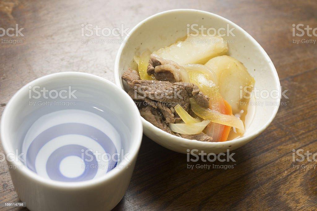 Japanese Cuisine Nikujaga (肉じゃが,meaning meat-potato) royalty-free stock photo