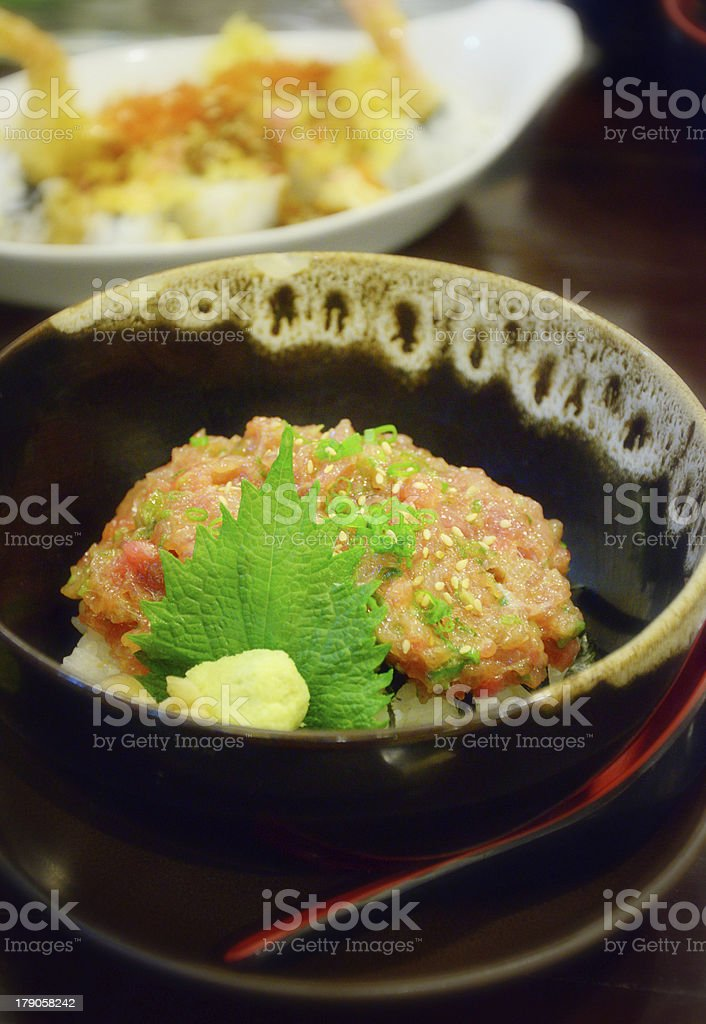 Japanese cuisine, Rice with Maguro minced fish royalty-free stock photo