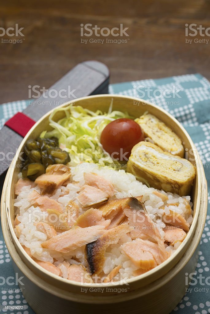 Japanese Cuisine Sake (Salmon) Bento (シャケ弁) royalty-free stock photo