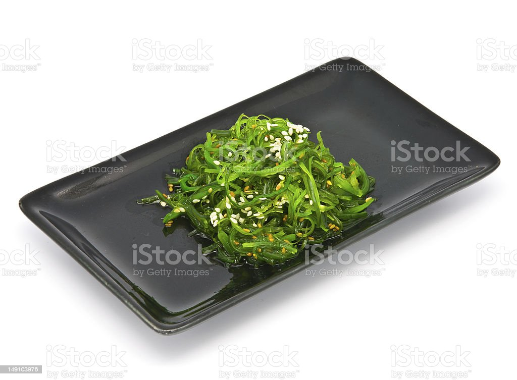 Japanese Cuisine , Seaweed Salad in black plate royalty-free stock photo