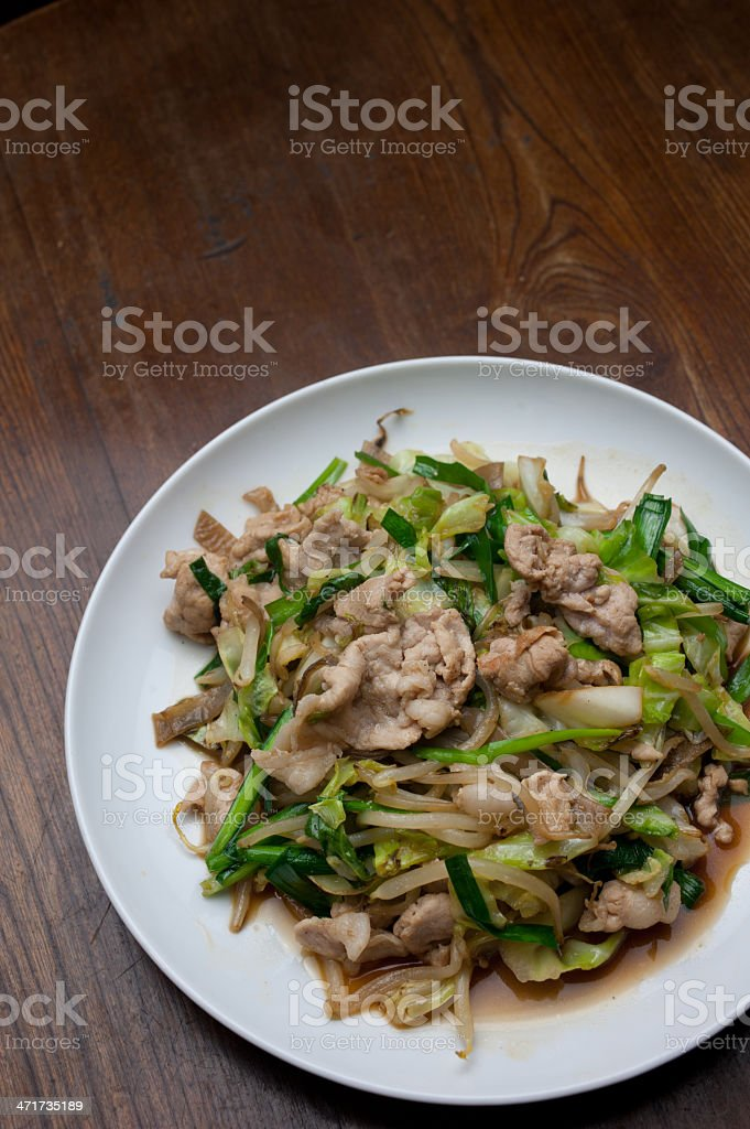 Japanese Cuisine Stir fried vegetables (yasai itame) royalty-free stock photo