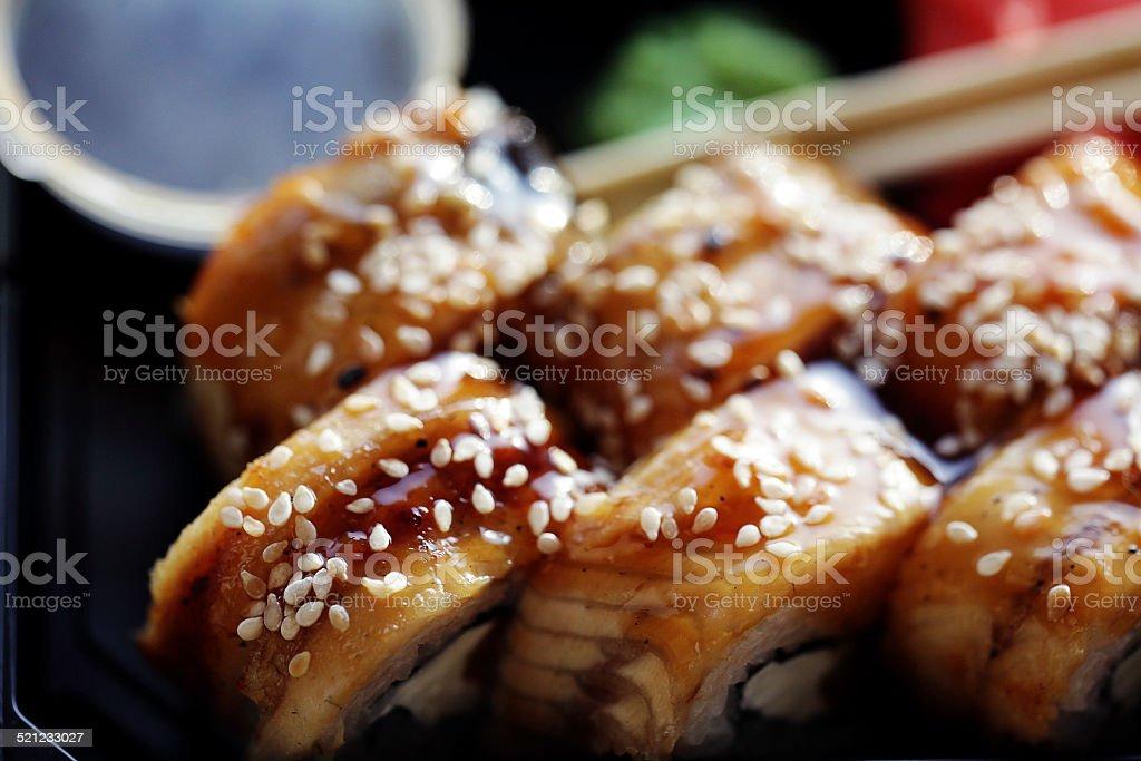 Japanese cuisine sushi rolls macro stock photo
