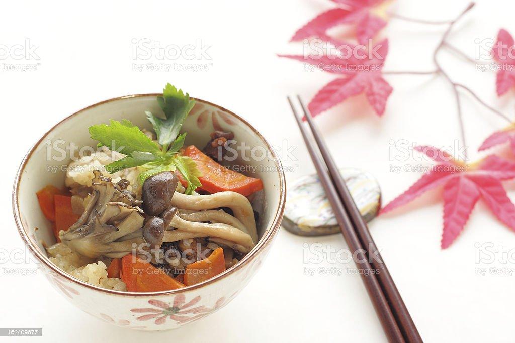 Japanese cuisine, Takikomi gohan Chicken and mushroom rice royalty-free stock photo