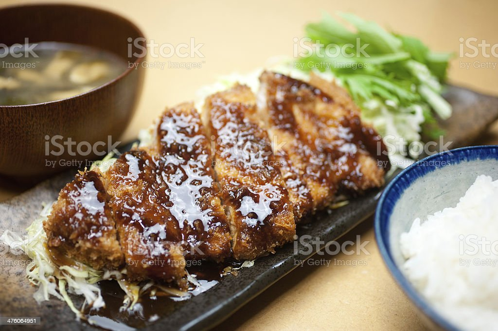 Japanese cuisine Tonkatsu stock photo