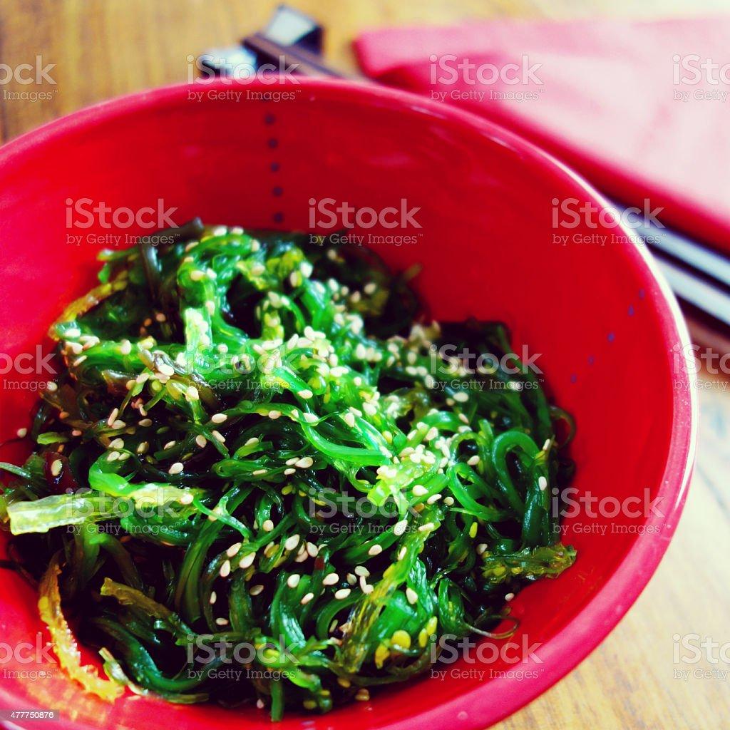 Japanese cuisine – wakame seaweed salad stock photo