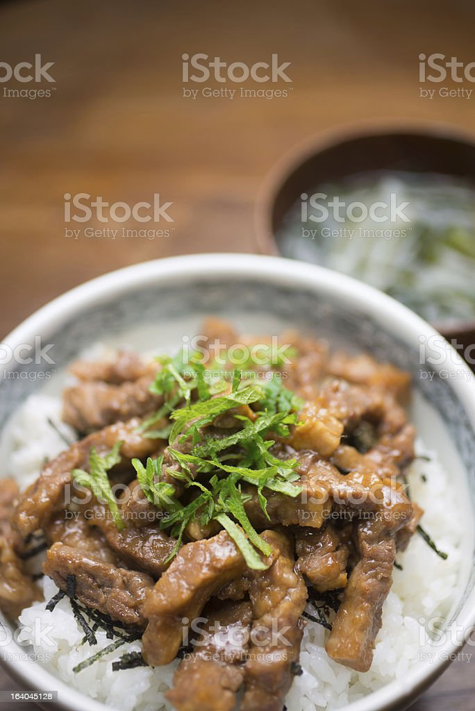 Japanese Cuisine Yakiniku-don (焼肉丼) royalty-free stock photo