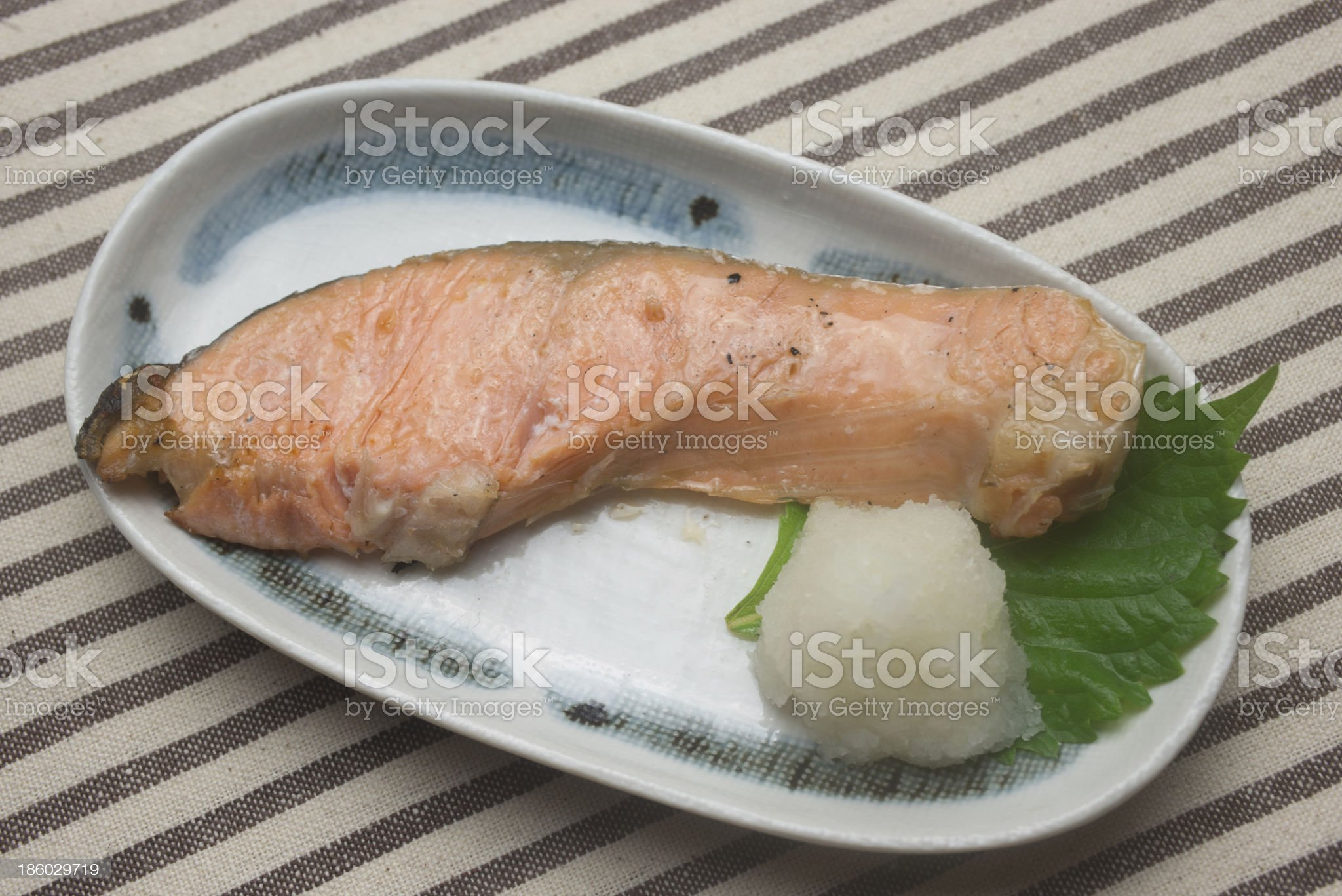 Japanese Cuisine Yakizakana (Sio-Zyake,Salted salmon) royalty-free stock photo