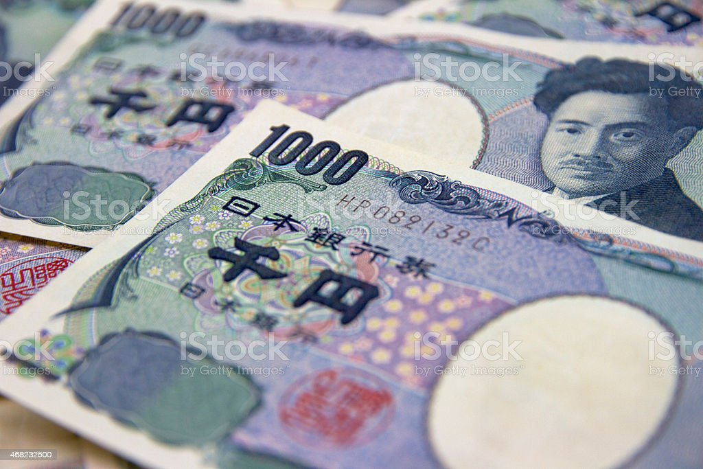 Japanese Currency - 1,000Yen banknotes stock photo