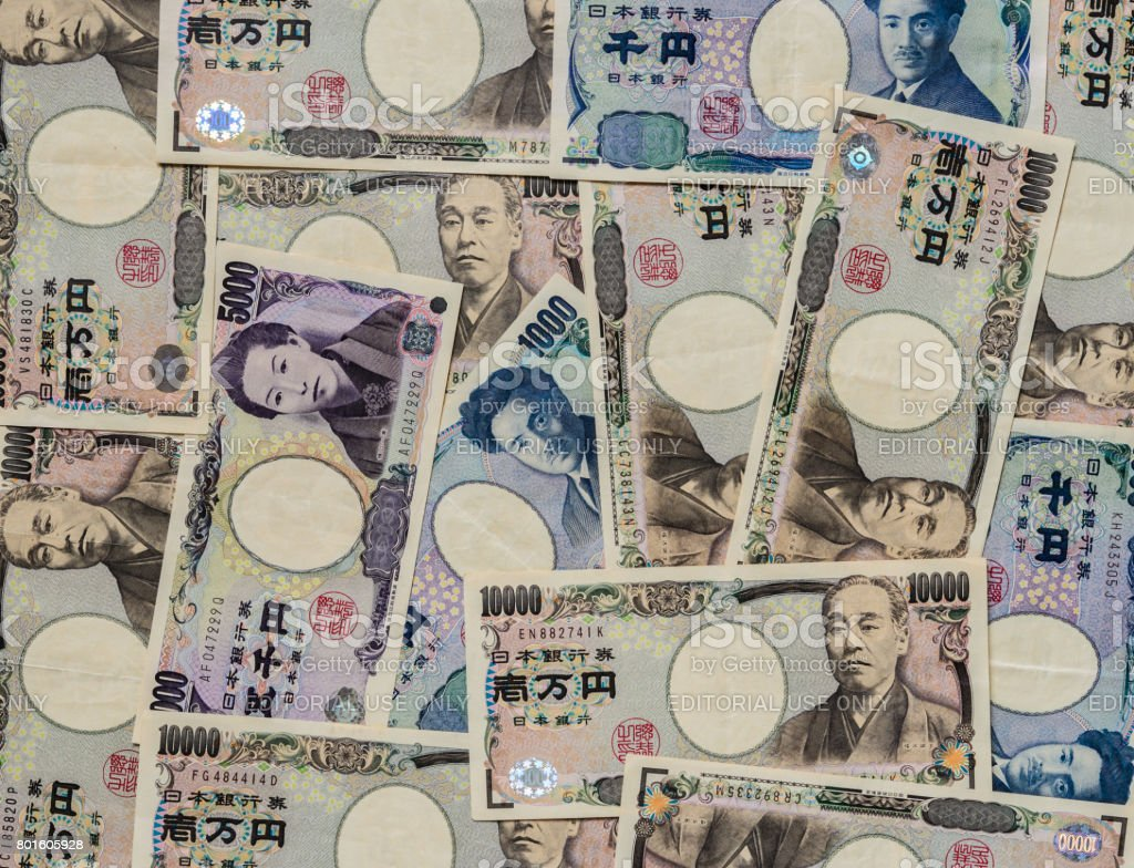 Japanese currency bank note background stock photo