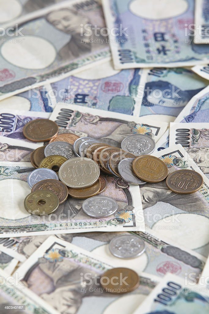 Japanese currency bank notes and coins  , Japanese Yen stock photo
