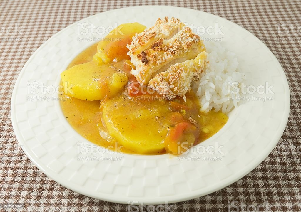 Japanese Curry and Tonkatsu with Cooked Rice stock photo