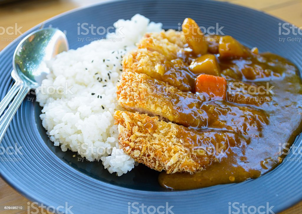 Japanese curry with fried pork and rice. stock photo