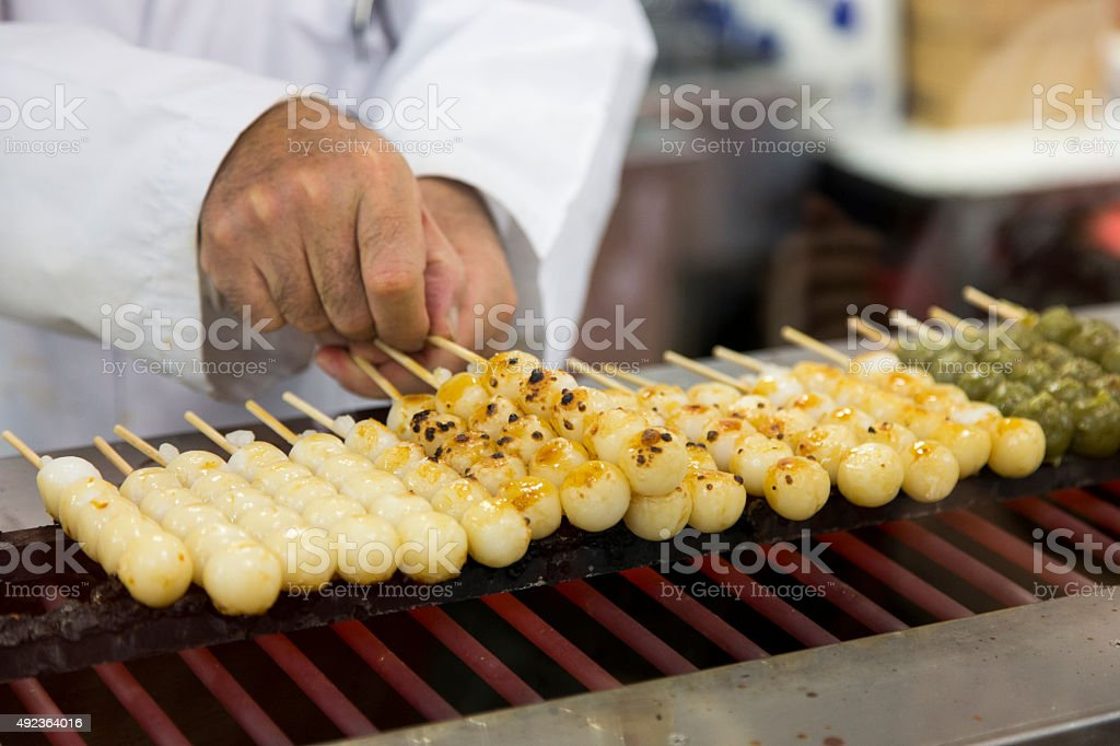 Japanese Dango on the Grill stock photo
