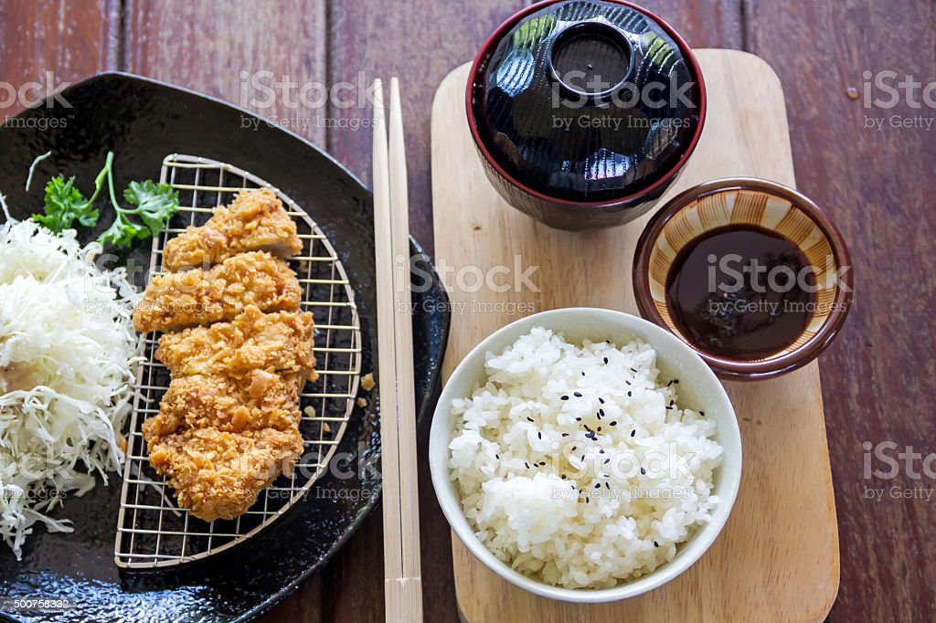 japanese deep fried pork cutlet or tonkatsu, Japanese food stock photo