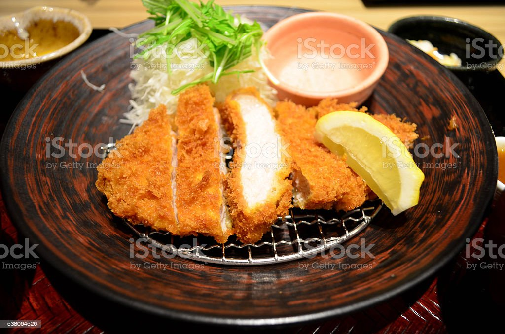 Japanese deep fried pork cutlet  (tonkatsu) stock photo