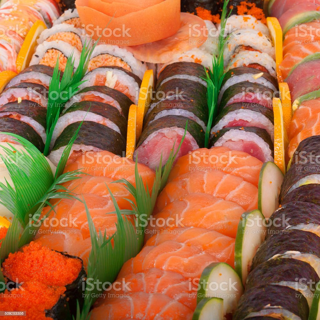 Japanese delicious sushi in the lunch box stock photo