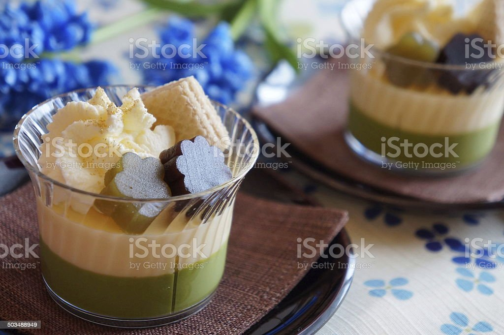 Japanese dessert with green tea mousse stock photo