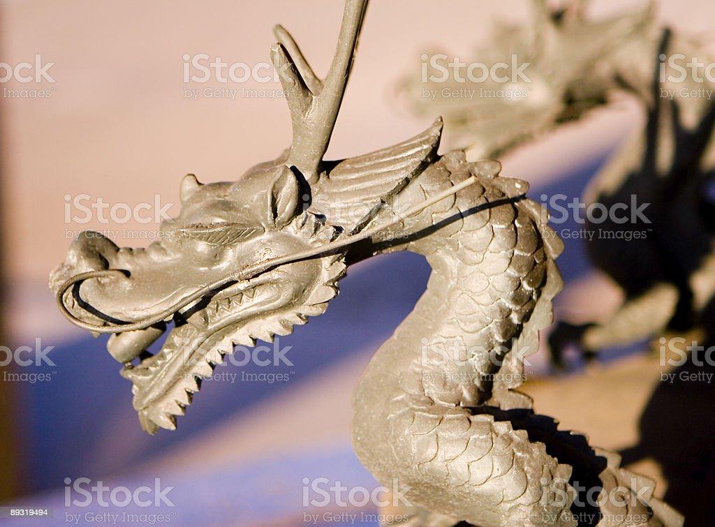 Japanese dragon in park (2) stock photo