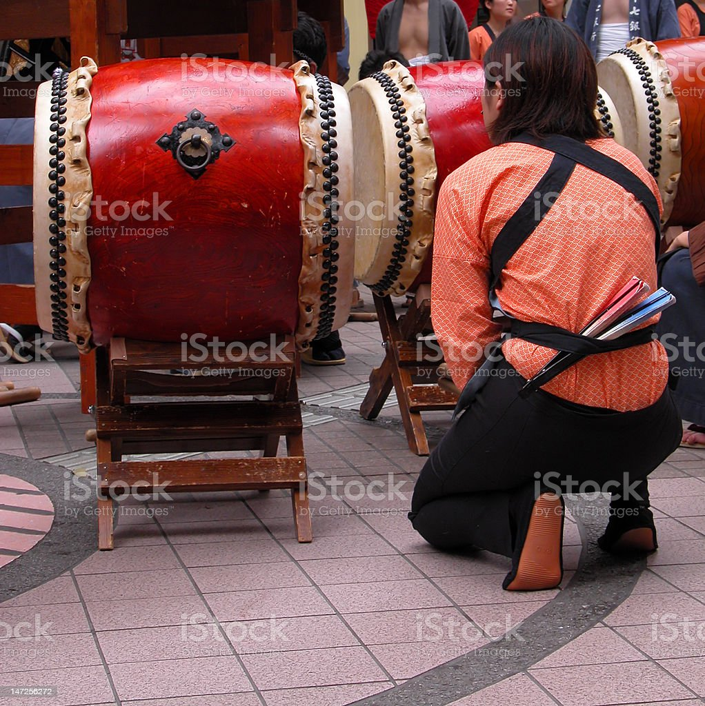 Japanese drums show moment royalty-free stock photo