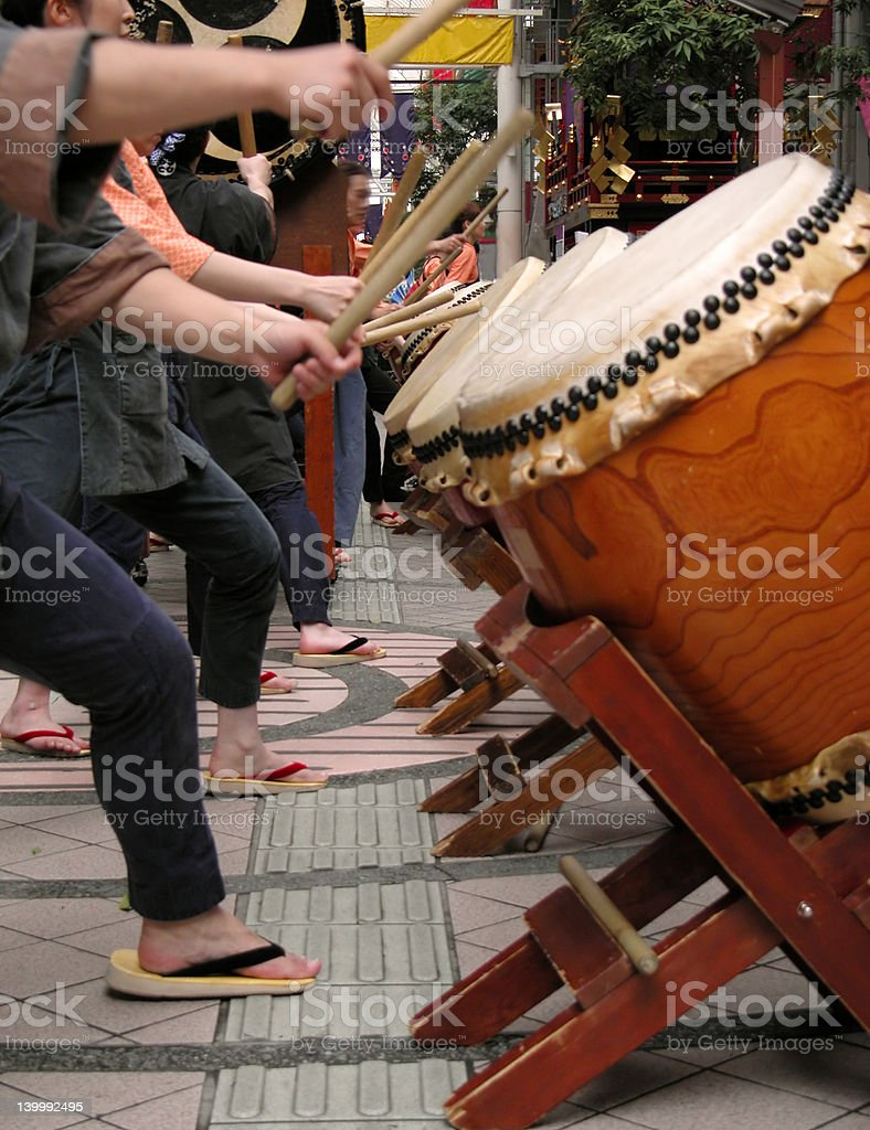 Japanese drums show-action detail stock photo