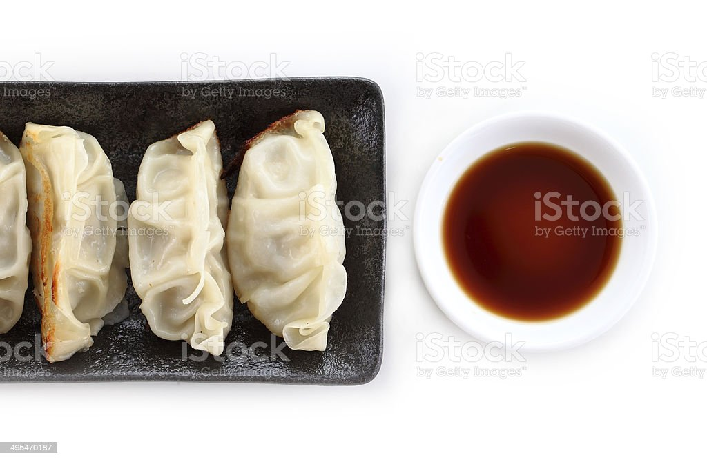 Japanese Dumplings on white background stock photo