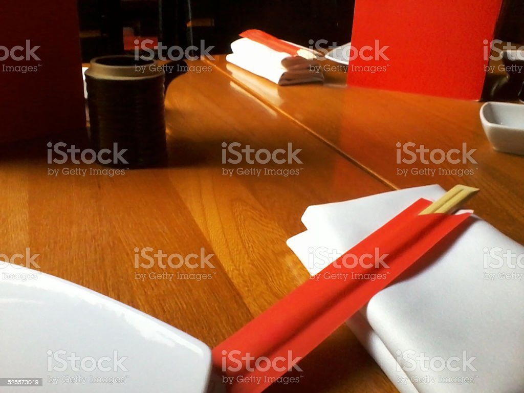 Japanese eating table red and white colors stock photo