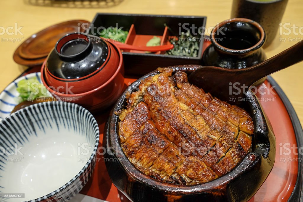 Japanese eel rice bowl stock photo