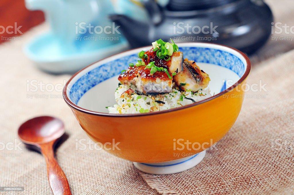 Japanese eel rice stock photo