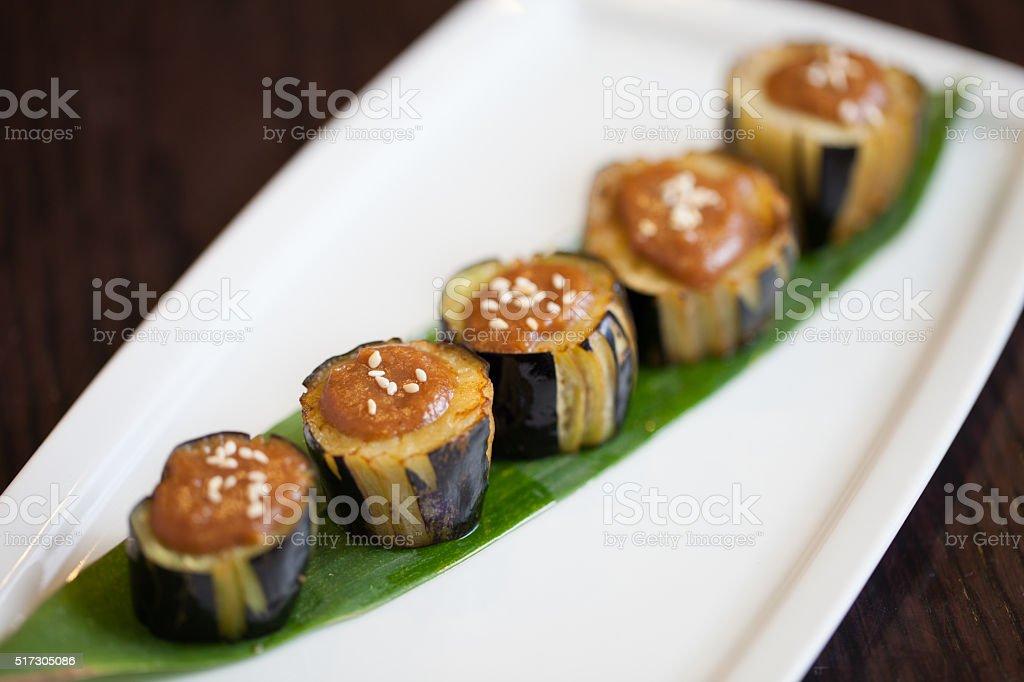 Japanese eggplant with miso sauce stock photo