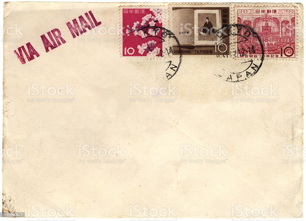 Japanese envelope from 1950s/60s royalty-free stock photo