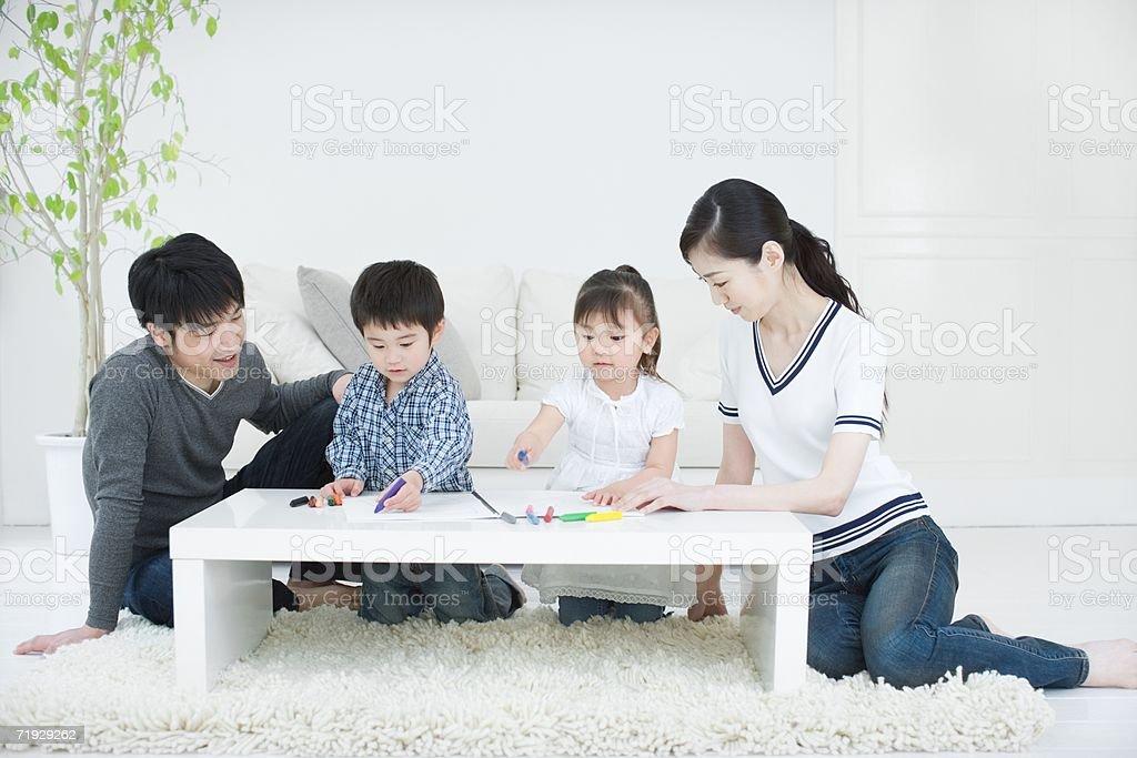 Japanese family drawing royalty-free stock photo
