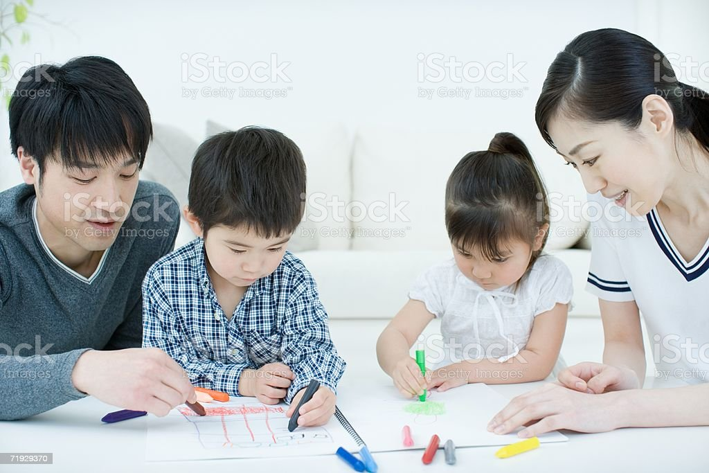 Japanese family drawing royalty-free stock photo
